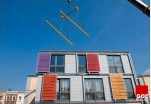 Britain's first demountable multistorey housing development