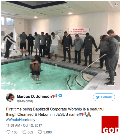 Eagles Wide Receiver Marcus Johnson Gets Baptized In Hotel Pool