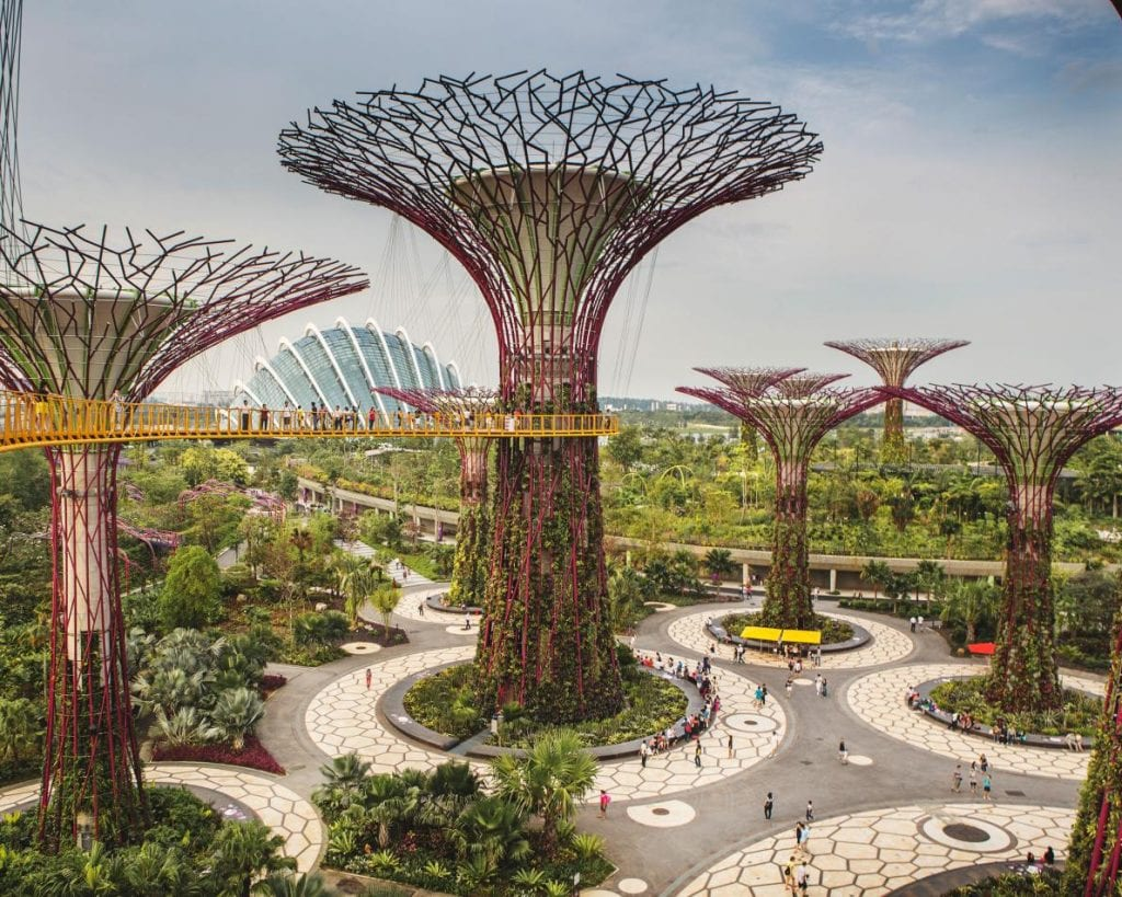 "Symbol of Singapore and its efforts to promote green space, these ""Supertrees"