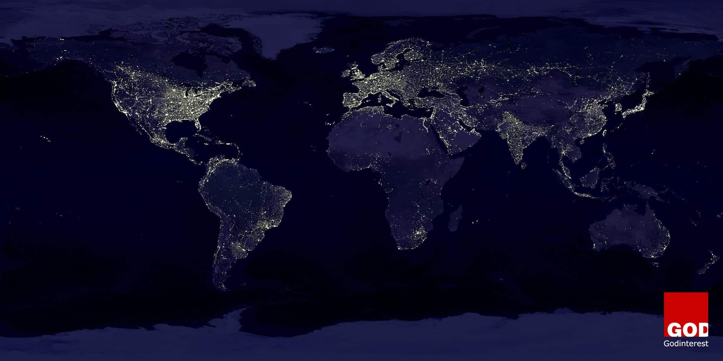 View of Earth at Night from Space
