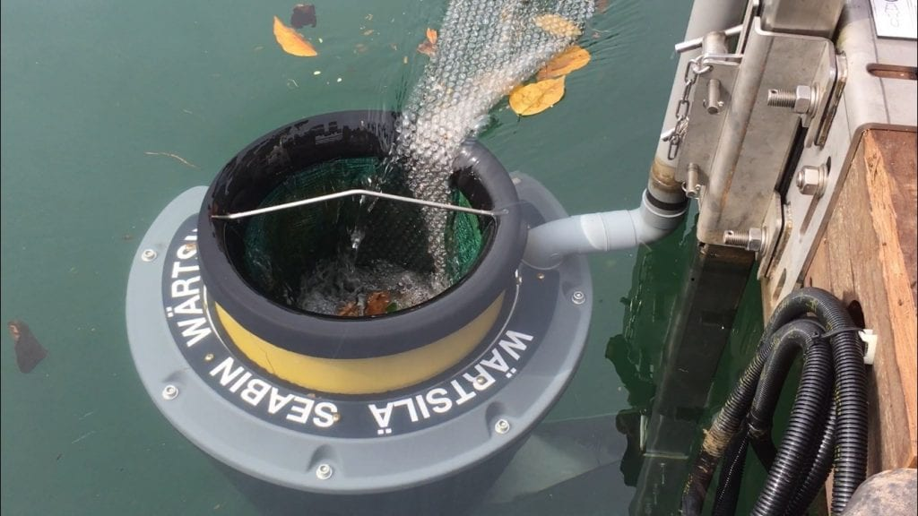 The Seabin collecting ocean plastic at Republic of Singapore Yacht Club. The most commonly collected items by the Seabin are cigarette butts, followed by plastic food wrappers. Image: Eco-Business