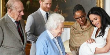 The Queen and Duke of Edinburgh meet royal baby Archie, held by Meghan as Prince Harry and Meghan's mother, Doria Ragland, look on. Photograph: Chris allerton/Sussex Royal/Twitter