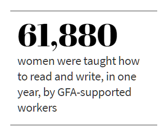 61,880 women were taught how to read and write, in one year, by GFA-supported workers